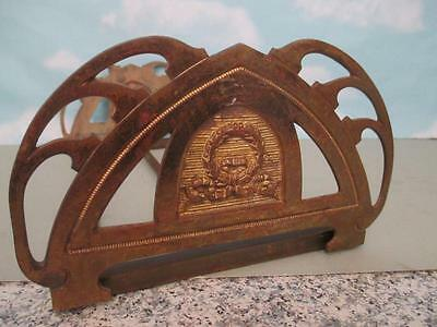 H5 Antique Brass & Cast Iron Adjustable Bookends Stand Wreath Design Ornament