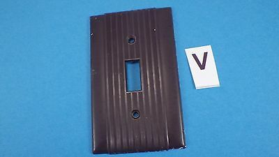 Vintage Ribbed Brown Art Deco Single Switch Plate Cover  # V