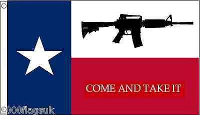 """Texas US State """"Come And Take It"""" M4 Assault Rifle 5'x3' Flag"""