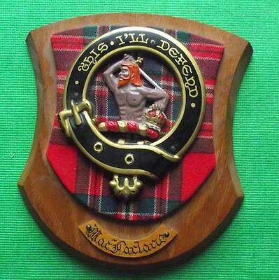 Vintage Scottish Clan MacFarlane Tartan Heavy Solid Oak Plaque Crest Shield