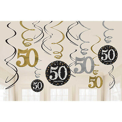 12 Happy 50th Birthday Hanging Swirls/Cutout Gold Black Silver Party Decorations