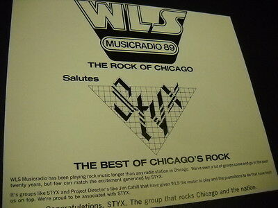 STYX 1980 promo advert WLS Musicradio 89 ROCK OF CHICAGO salutes STYX