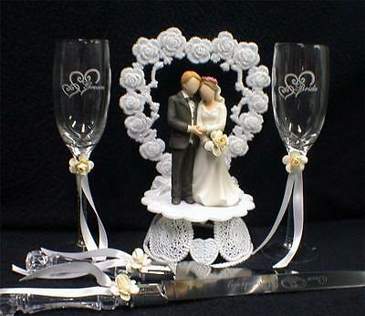 Meant TO BEE Spring Garden Wedding Cake Topper LOT Glasses Server Bubble Funny