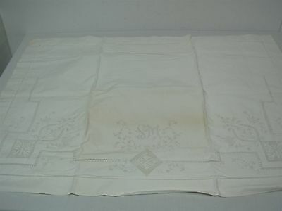 PAIR ANTIQUE WHITE COTTON PILLOWCASES with CUTWORK EMBROIDERED FLOWER & MONOGRAM