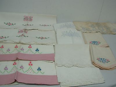 11 VINTAGE PURE LINEN STANDARD SIZE PILLOWCASES w HAND EMBROIDERY PRETTY LOT!