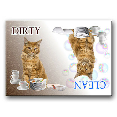 MAINE COON CAT Clean Dirty DISHWASHER MAGNET No 2