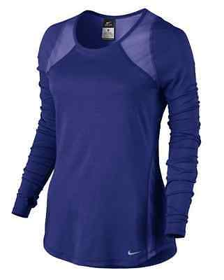 707397-455 New with Tag NIKE Women LONG SLEEVE CREW  running shirt BRIGHT BLUE