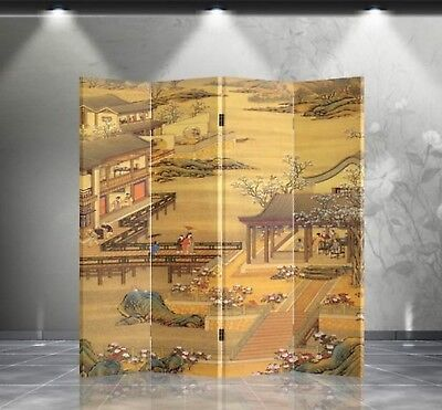 Double Sided Canvas Screen Room Divider - Chinese Garden