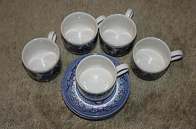 5 Churchill England China Blue Willow Cups & Saucers MINT