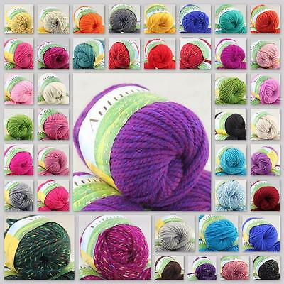 Sale New 1Ballx50g Worsted Soft Warm Wool Rainbow Chunky Hand Knitting Yarn