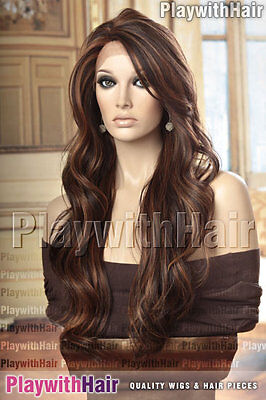 GORGEOUS Tousled Wig LACE FRONT Heat Friendly Three Tone Brown