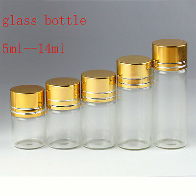 Whole Sale Tiny Small Empty Clear 5ml-14ml Bottles Glass Vials With Screw Cap