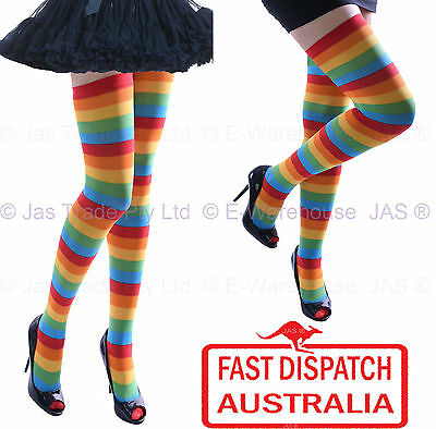 Halloween Stripe Disco Mardi Gras Party Parade Thigh High Rainbow Stockings