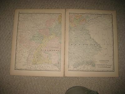Antique 1882 South Southern Germany Map Bavaria Wurtemberg Weimar Detailed Nr
