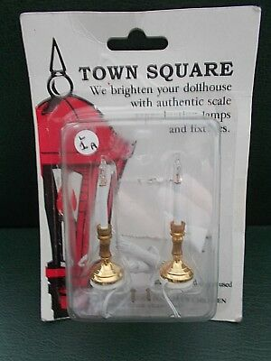 1/12th Scale. Dolls House. 2 x Candle Lights. (Wire-2 Pin Plug)