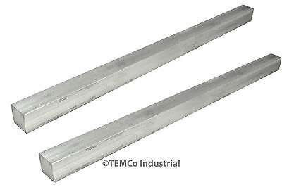 "2 LOT 1/2"" Inch 14"" Long 6061 Aluminum Square Bar Mill Rod Stock .50"""