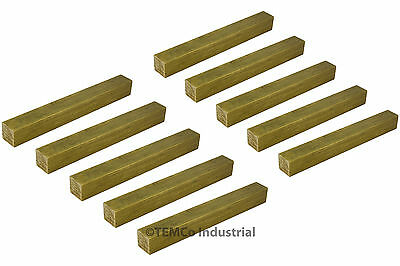"10x 3/8"" Inch 3"" Long C360 Brass Half Hard Square Bar Mill Rod Stock .375"""
