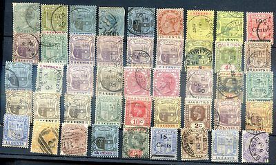BRITISH MAURITIUS LOT 45 Old Stamps With Diferent Cancels