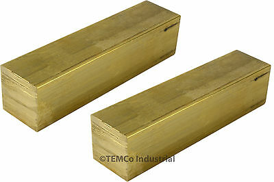 "2 LOT 3/4"" Inch 2"" Long C360 Brass Half Hard Square Bar Mill Rod Stock .75"""
