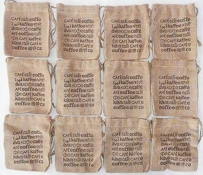 "Lot of 12 BURLAP COFFEE BAGS 5.5"" x 6"" Gunny Sack >NEW< Jute Starwood Bag"