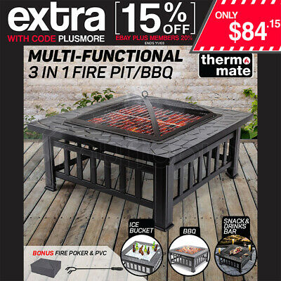 THERMOMATE Outdoor Firepit Brazier BBQ Grill Garden Patio Fireplace Camping