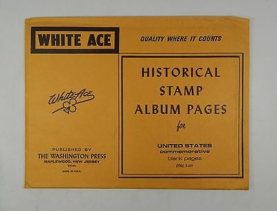 White Ace United States Commemorative Blank Pages Stamp Album Pages Style S