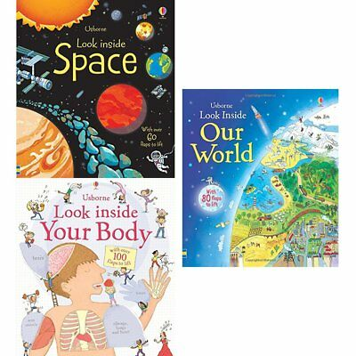 Usborne Look Inside Books Collection (Space,Our World,Your Body) 3 Books Set NEW