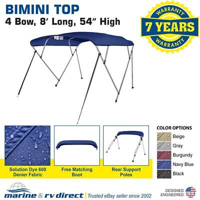"New Pontoon Bimini Top Boat Cover 4 Bow 54"" H 73"" - 78"" W 8 ft. Long Navy Blue"