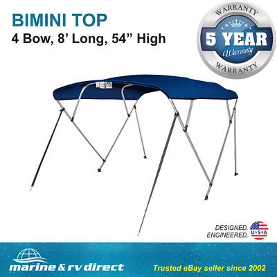 """Bimini Top 4 Bow Boat Cover  54"""" H 91""""- 96"""" W 8' ft. L  Solution Dye Navy Blue"""