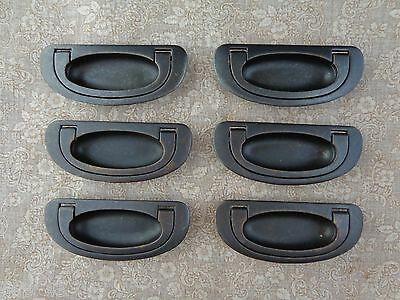 """6 New Brass Recessed Drawer Cup Pulls Antique Bronze Finish 4"""" Wide 3"""" Centers"""