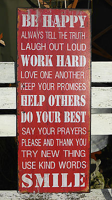 Large Vintage Metal Sign Be Happy Work Hard Shabby Chic Home Decor Plaque