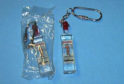 Lot of 2 BEEFEATER London Dry GIN Replica Mini Bottle Plastic KEYCHAIN Brand NEW