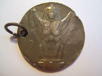 German SILVER 1900 Century MEDAL Medallion winged sphinx classic lady