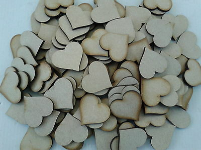 Pack of 50 Laser Cut Wooden Heart Shapes 4 cms x 4 cms 3mm MDF Wedding Crafts