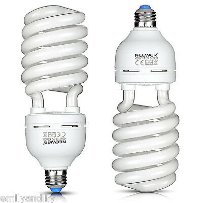 Neewer 2 Pack 45W 5500K Tri-phosphor Spiral CFL Daylight Balanced Light Bulb