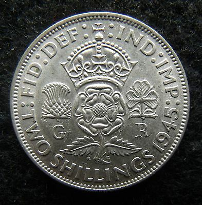 1945 Florin Two Shillings George VI Silver British coins about EF