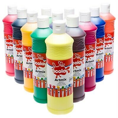 Scola Artmix AM600/12/A Ready Mixed Tempera Paint - 12 Assorted Colours 600ml