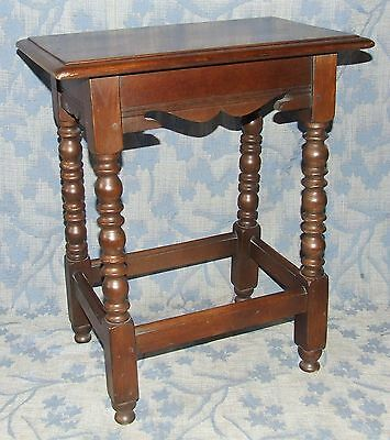 Superb Antique Style Solid Oak Joint Stool Table / Lamp Stand circa 1920 (43) • £165.00