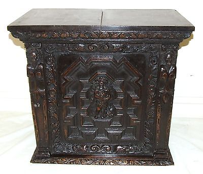 Antique Carved Oak SPICE SPECIMEN CUPBOARD CABINET / Bathroom / Medicine Cabinet
