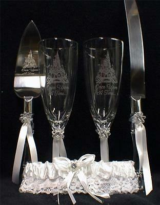 Fairytale Wedding lot Glasses Flute Cake Knife Server set Laser Castle Disney