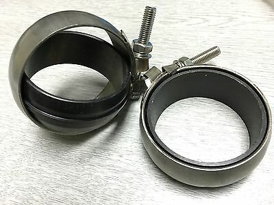 "2X 2.5"" SUPER HEAVY DUTY CLAMPS For EXHAUST PIPE JOINER JOINT 30MM WIDE"