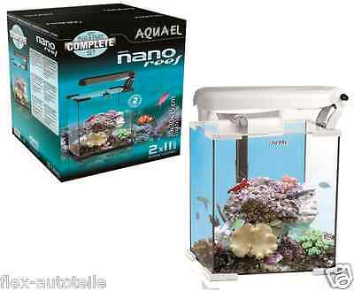AQUAEL Nano Reef Weiß LED 30l Meerwasser Salzwasser Aquarium Set 29x29x35