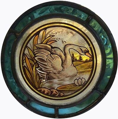Victorian Bird English Painted Swan On The Pond Stained Glass Roundel