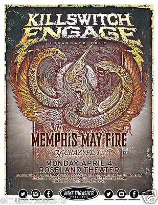 "Killswitch Engage/memphis May Fire ""incarnate Tour"" 2016 Portland Concert Poster"