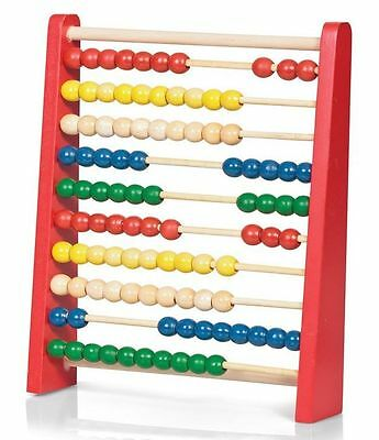 Childrens 27cm Large Wooden Bead Abacus Counting Frame Educational Maths Toy