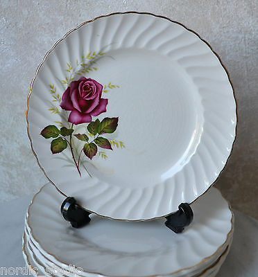 RIDGWAY ANNIVERSARY ROSE SALAD LUNCH PLATE, red rose, ironstone ware