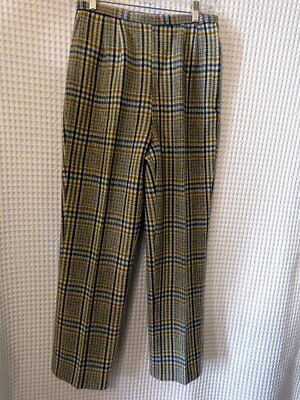 60-70s blue/gray& gold plaid woolblend pants 27x28 as is