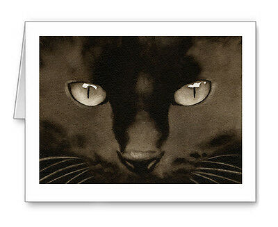BLACK CAT note cards by watercolor artist DJ Rogers
