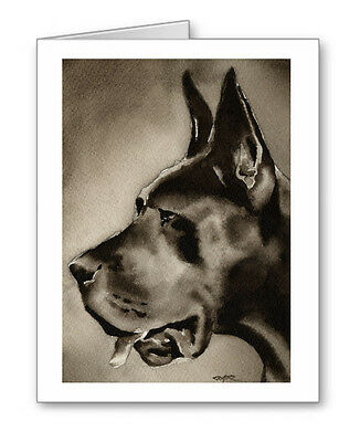 BLACK GREAT DANE note cards by watercolor artist DJ Rogers