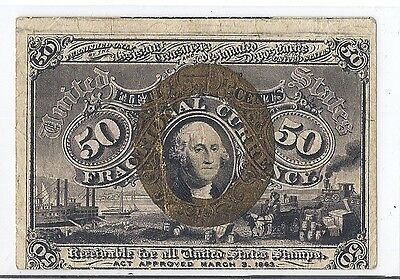 1863 US Civil War Fractional Currency, 50 Cents #1316 - Circ XF*